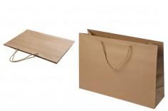 Τσάντα δώρου χάρτινη καφέ με στριφτό κορδόνι 400x130x300 mm - 12 τμχ