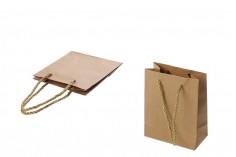 Τσάντα δώρου χάρτινη καφέ με στριφτό κορδόνι 80x50x110 mm - 12 τμχ
