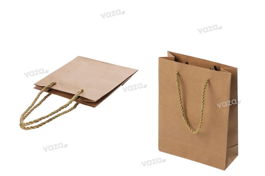 Τσάντα δώρου χάρτινη καφέ με στριφτό κορδόνι 150x60x200 mm - 12 τμχ