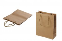 Sac cadeau en papier brun avec cordon torsadé 190x80x245 mm - 12 pcs