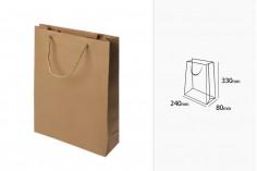 Τσάντα δώρου χάρτινη καφέ με στριφτό κορδόνι 240x80x330 mm - 12 τμχ