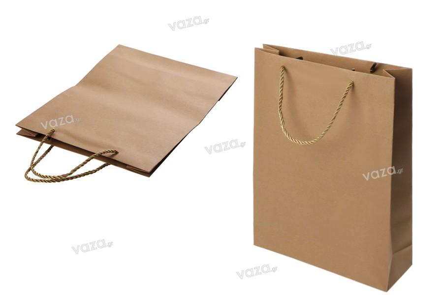 Τσάντα δώρου χάρτινη καφέ με στριφτό κορδόνι 280x100x370 mm - 12 τμχ