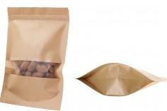 """Σακουλάκια κραφτ τύπου Doy Pack, με κλείσιμο """"zip"""" και παράθυρο, εσωτερική και εξωτερική διάφανη επένδυση και δυνατότητα σφράγισης με θερμοκόλληση 180x50x260 mm - 100 τμχ"""
