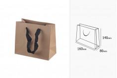Τσάντα χάρτινη οικολογική κραφτ - χερούλι μαύρο με 20 mm φακαρόλα 160x80x140