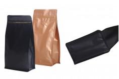 """Σακουλάκια αλουμινίου τύπου Doy Pack με βαλβίδα, κλείσιμο με """"zip"""" και δυνατότητα σφράγισης με θερμοκόλληση 135x76x265 mm - 25 τμχ"""