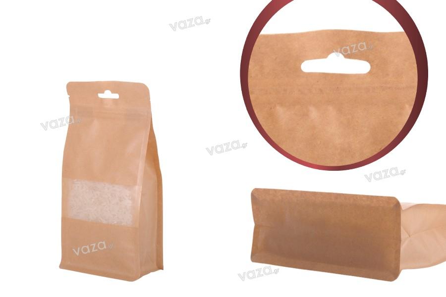 """Σακουλάκια κραφτ τύπου Doy Pack, με κλείσιμο """"zip"""", παράθυρο και τρύπα Eurohole, εσωτερική και εξωτερική διάφανη επένδυση και δυνατότητα σφράγισης με θερμοκόλληση 100x60x200 mm - 50 τμχ"""