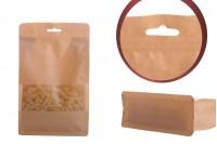 """Σακουλάκια κραφτ τύπου Doy Pack, με κλείσιμο """"zip"""", παράθυρο και τρύπα Eurohole, εσωτερική και εξωτερική διάφανη επένδυση και δυνατότητα σφράγισης με θερμοκόλληση 160x80x260 mm - 50 τμχ"""