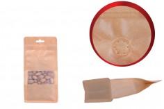"""Σακουλάκια κραφτ τύπου Doy Pack, με κλείσιμο """"zip"""", βαλβίδα, παράθυρο και τρύπα Eurohole, εσωτερική και εξωτερική διάφανη επένδυση και δυνατότητα σφράγισης με θερμοκόλληση 100x60x200 mm - 25 τμχ"""