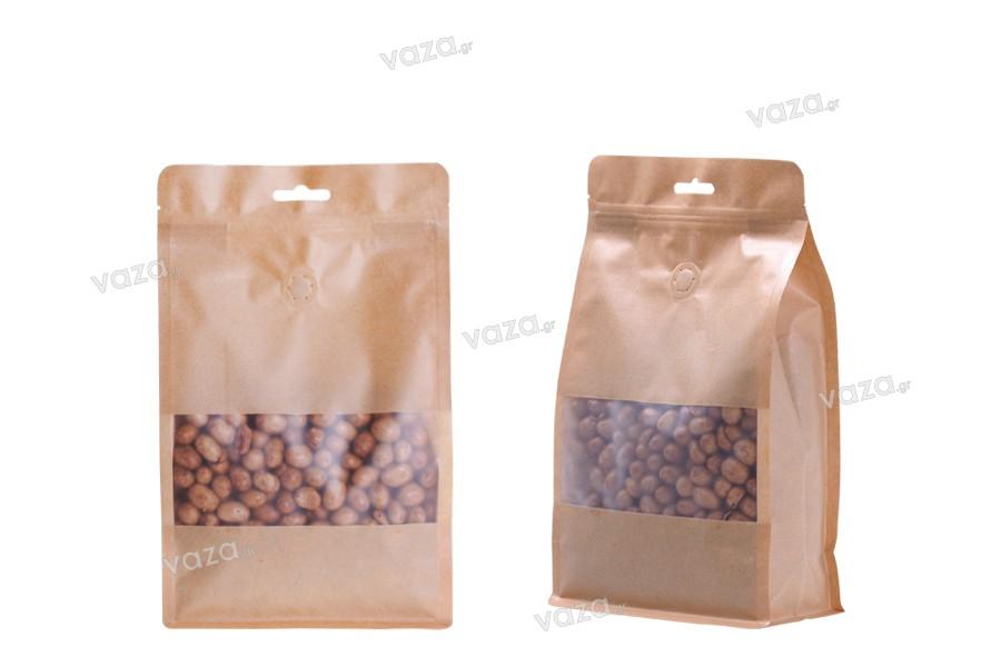 """Σακουλάκια κραφτ τύπου Doy Pack, με κλείσιμο """"zip"""", βαλβίδα, παράθυρο και τρύπα Eurohole, εσωτερική και εξωτερική διάφανη επένδυση και δυνατότητα σφράγισης με θερμοκόλληση 180x80x280 mm - 25 τμχ"""