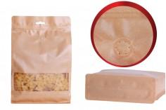 """Σακουλάκια κραφτ τύπου Doy Pack, με κλείσιμο """"zip"""", βαλβίδα, παράθυρο και τρύπα Eurohole, εσωτερική και εξωτερική διάφανη επένδυση και δυνατότητα σφράγισης με θερμοκόλληση 160x80x260 mm - 25 τμχ"""