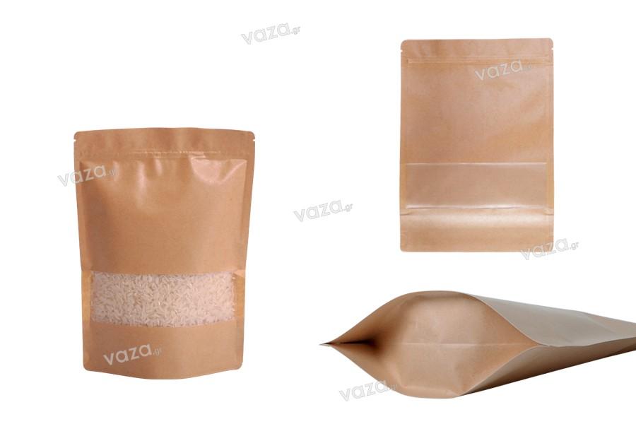"""Σακουλάκια κραφτ τύπου Doy Pack, με κλείσιμο """"zip"""" και παράθυρο, εσωτερική και εξωτερική διάφανη επένδυση και δυνατότητα σφράγισης με θερμοκόλληση 160x40x220 mm - 100 τμχ"""