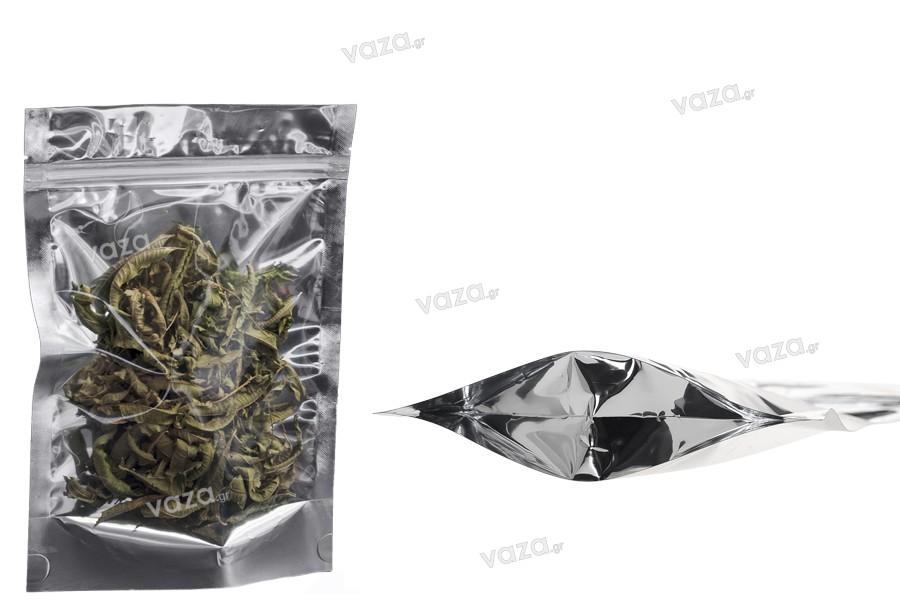 """Σακουλάκια αλουμινίου τύπου Doy Pack, διάφανα με κλείσιμο """"zip"""" και δυνατότητα σφράγισης με θερμοκόλληση 160x40x240 - 100 τμχ"""
