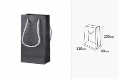 Τσάντα δώρου σε μαύρο ΜΑΤ με κορδόνι ασημί στριφτό 6 mm και λεία υφή 110x60x200