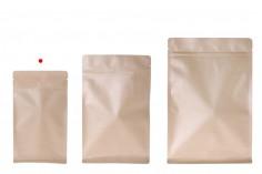 Σακουλάκια κραφτ τύπου Doy Pack, χωρίς τρύπα, με κλείσιμο zip, εσωτερική επένδυση αλουμινίου και δυνατότητα σφράγισης με θερμοκόλληση 140x70x240 mm - 50 τμχ