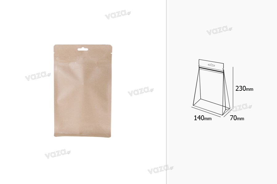 """Σακουλάκια κραφτ τύπου Doy Pack, με κλείσιμο """"zip"""", εσωτερική επένδυση αλουμινίου και δυνατότητα σφράγισης με θερμοκόλληση 140x70x230 mm - 50 τμχ"""