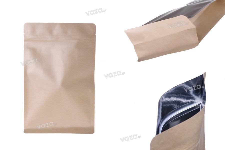"""Σακουλάκια κραφτ τύπου Doy Pack, χωρίς τρύπα, με κλείσιμο """"zip"""", εσωτερική επένδυση αλουμινίου και δυνατότητα σφράγισης με θερμοκόλληση 160x80x260 mm - 50 τμχ"""