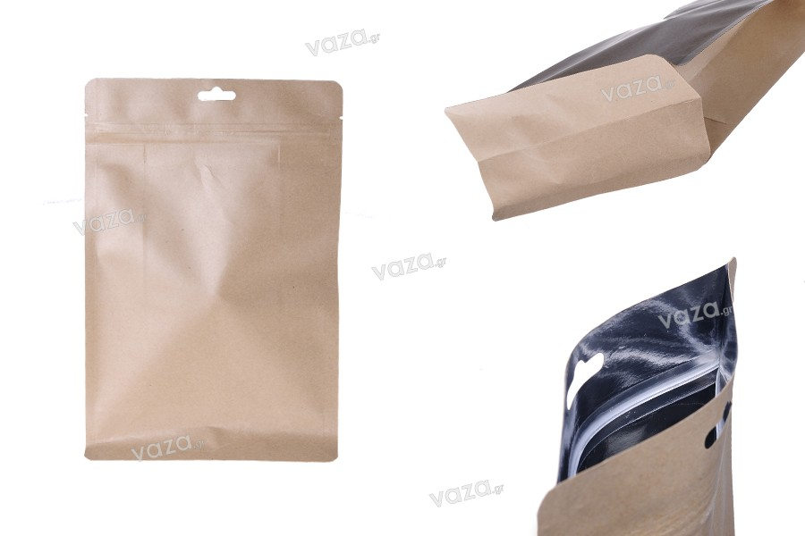 """Σακουλάκια κραφτ τύπου Doy Pack, με κλείσιμο """"zip"""", εσωτερική επένδυση αλουμινίου και δυνατότητα σφράγισης με θερμοκόλληση 170x80x260 mm - 50 τμχ"""