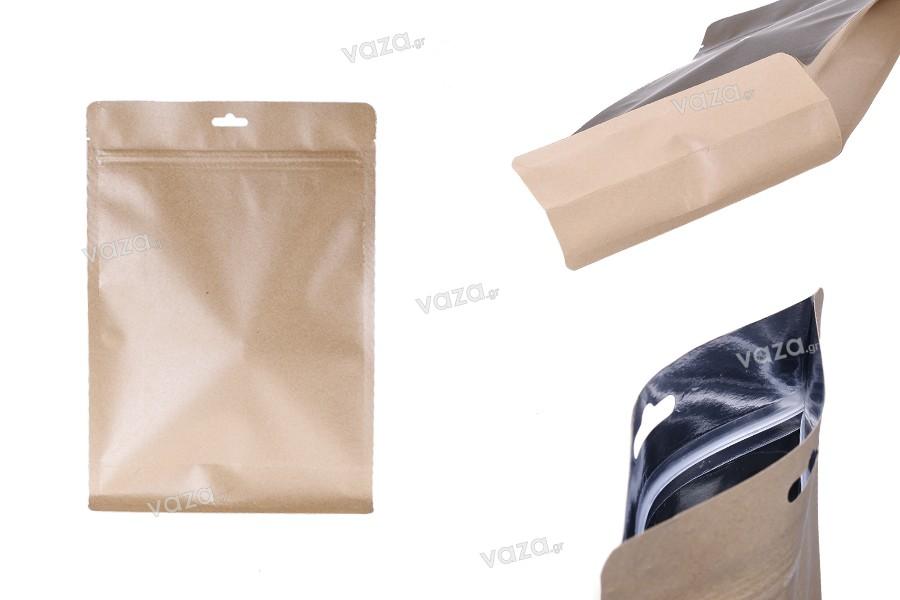"""Σακουλάκια κραφτ τύπου Doy Pack, με κλείσιμο """"zip"""", εσωτερική επένδυση αλουμινίου και δυνατότητα σφράγισης με θερμοκόλληση 200x80x290 mm - 50 τμχ"""