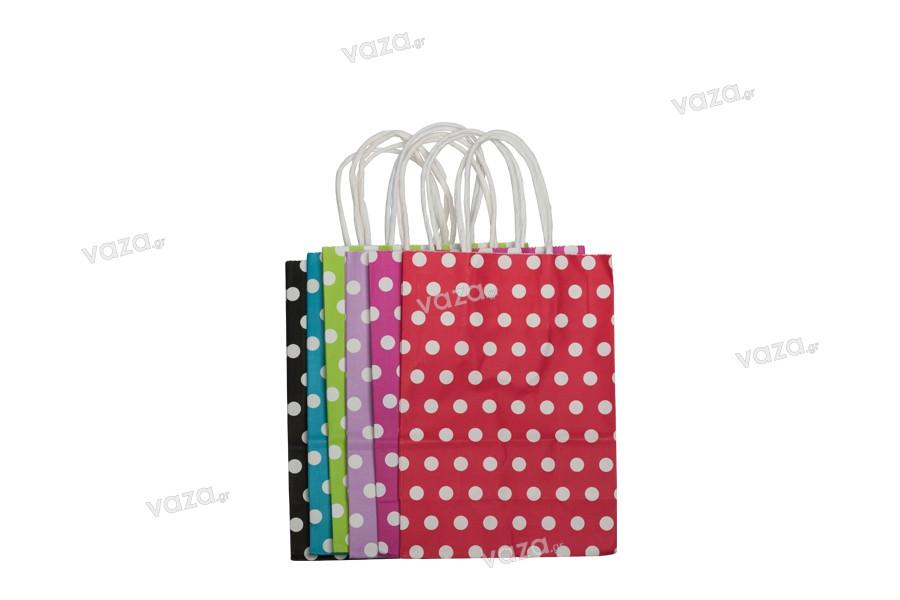 Σακούλα χάρτινη πουά 150x80x210 mm σε ποικιλία χρωμάτων