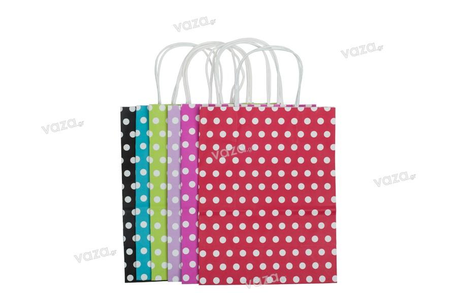 Σακούλα χάρτινη πουά 210x110x270 mm σε ποικιλία χρωμάτων