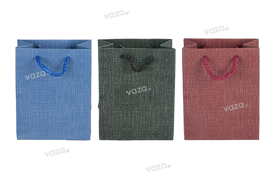 Σακούλα χάρτινη με χερούλι 110x60x140 mm σε ποικιλία χρώματων