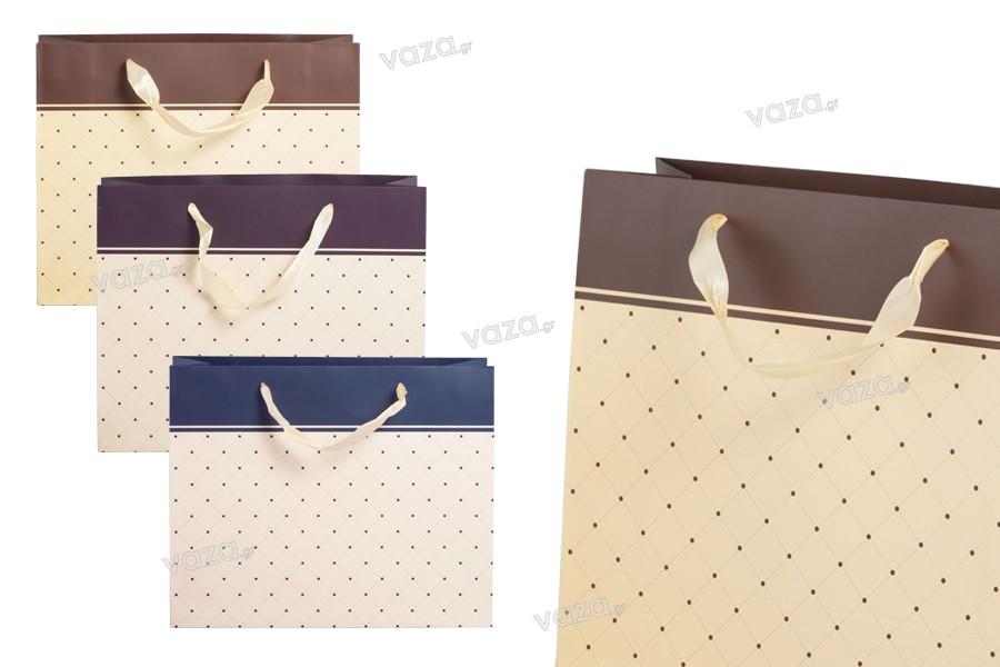 Τσάντα δώρου χάρτινη με σατέν χερούλι 320x110x260 mm σε διάφορα χρώματα