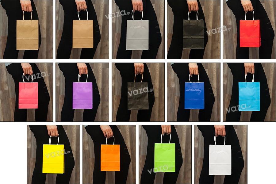 Τσάντα δώρου χάρτινη 160x80x220 mm με χερούλι σε ποικιλία χρωμάτων