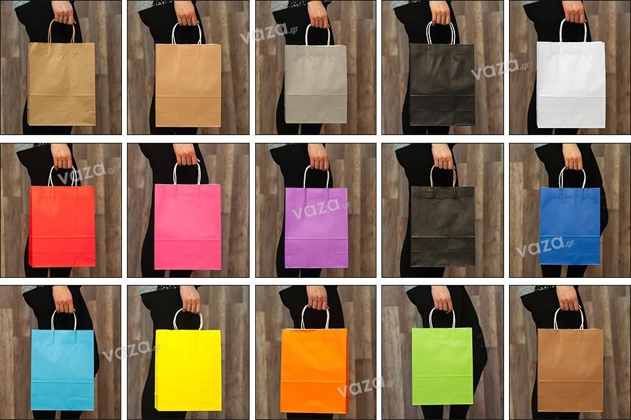Τσάντα δώρου χάρτινη 260x120x330 mm με χερούλι σε ποικιλία χρωμάτων