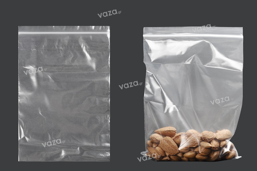 Σακουλάκια με κλείσιμο zip 160x230 mm διαφανή πλαστικά - 100 τμχ