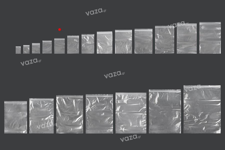Σακουλάκια με κλείσιμο zip 80x120 mm διαφανή πλαστικά - 500 τμχ