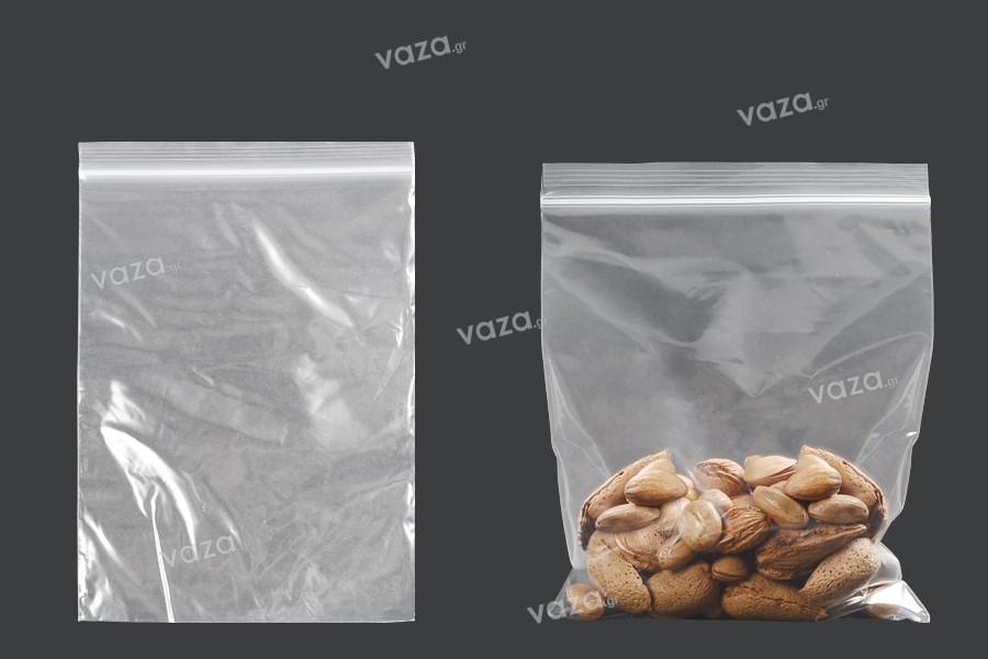 Σακουλάκια με κλείσιμο zip 130x190 mm διαφανή πλαστικά - 100 τμχ