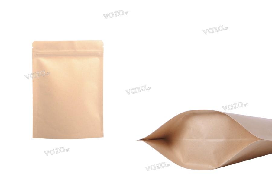 """Σακουλάκια κραφτ τύπου Doy Pack, με κλείσιμο """"zip"""", εσωτερική επένδυση αλουμινίου και δυνατότητα σφράγισης με θερμοκόλληση 90x30x140 mm - 50 τμχ"""
