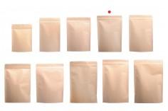 """Σακουλάκια κραφτ τύπου Doy Pack, με κλείσιμο """"zip"""", εσωτερική επένδυση αλουμινίου και δυνατότητα σφράγισης με θερμοκόλληση 130x40x210 mm - 50 τμχ"""