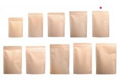 """Σακουλάκια κραφτ τύπου Doy Pack, με κλείσιμο """"zip"""", εσωτερική επένδυση αλουμινίου και δυνατότητα σφράγισης με θερμοκόλληση 150x40x210 mm - 50 τμχ"""