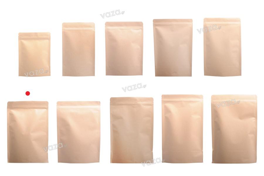 """Σακουλάκια κραφτ τύπου Doy Pack, με κλείσιμο """"zip"""", εσωτερική επένδυση αλουμινίου και δυνατότητα σφράγισης με θερμοκόλληση 150x40x240 mm - 50 τμχ"""