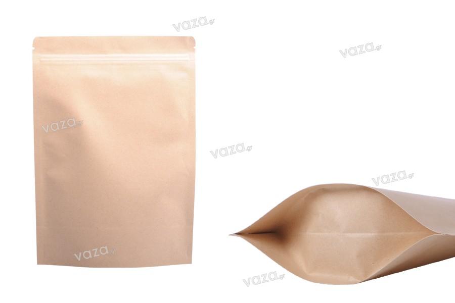 """Σακουλάκια κραφτ τύπου Doy Pack, με κλείσιμο """"zip"""", εσωτερική επένδυση αλουμινίου και δυνατότητα σφράγισης με θερμοκόλληση 170x40x240 mm - 50 τμχ"""