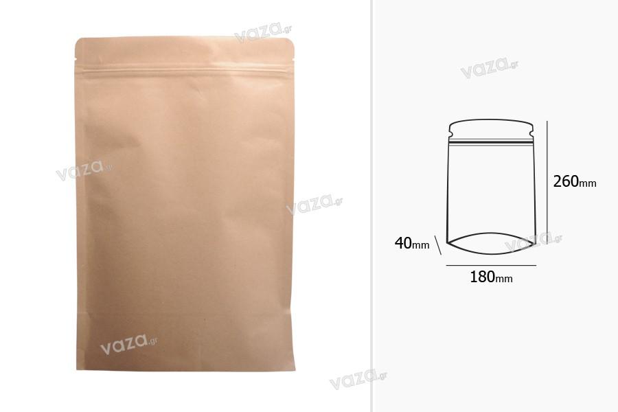 """Σακουλάκια κραφτ τύπου Doy Pack, με κλείσιμο """"zip"""", εσωτερική επένδυση αλουμινίου και δυνατότητα σφράγισης με θερμοκόλληση 180x40x260 mm - 50 τμχ"""
