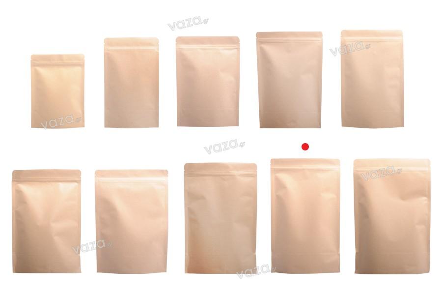 """Σακουλάκια κραφτ τύπου Doy Pack, με κλείσιμο """"zip"""", εσωτερική επένδυση αλουμινίου και δυνατότητα σφράγισης με θερμοκόλληση 180x50x300 mm - 50 τμχ"""