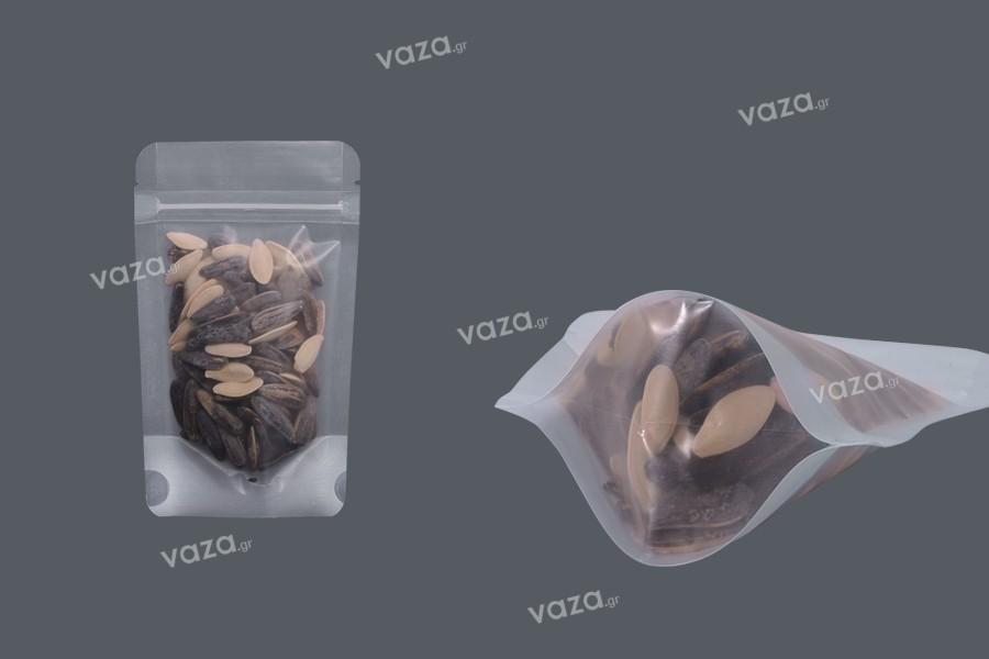 """Σακουλάκια τύπου Doy Pack διάφανα με κλείσιμο """"zip"""" και δυνατότητα σφράγισης με θερμοκόλληση 90x30x150 mm - 50 τμχ"""