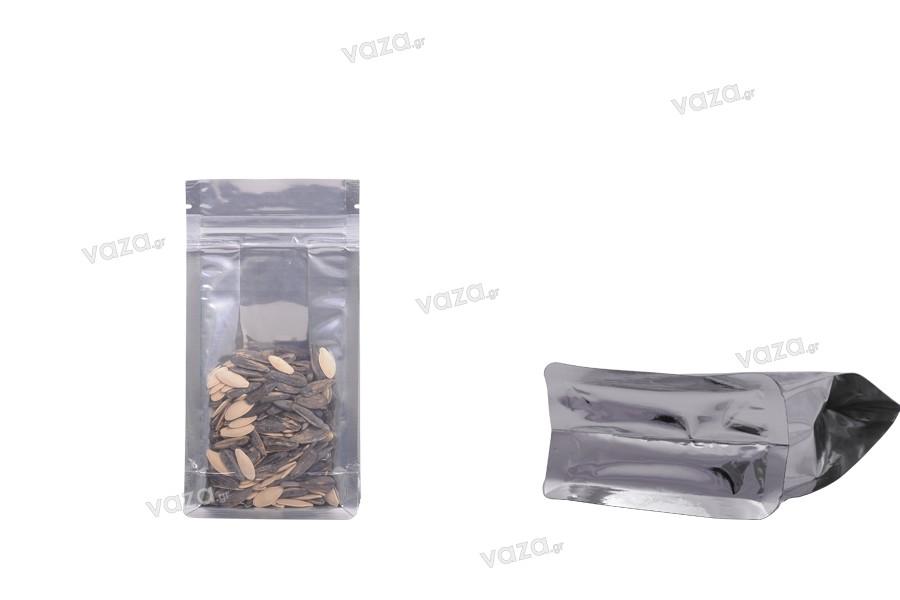 """Σακουλάκια αλουμινίου τύπου Doy Pack, διάφανα με κλείσιμο """"zip"""" και δυνατότητα σφράγισης με θερμοκόλληση 100x60x200 mm - 50 τμχ"""