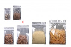 """Σακουλάκια αλουμινίου τύπου Doy Pack, διάφανα με κλείσιμο """"zip"""" και δυνατότητα σφράγισης με θερμοκόλληση 160x80x260 mm - 50 τμχ"""