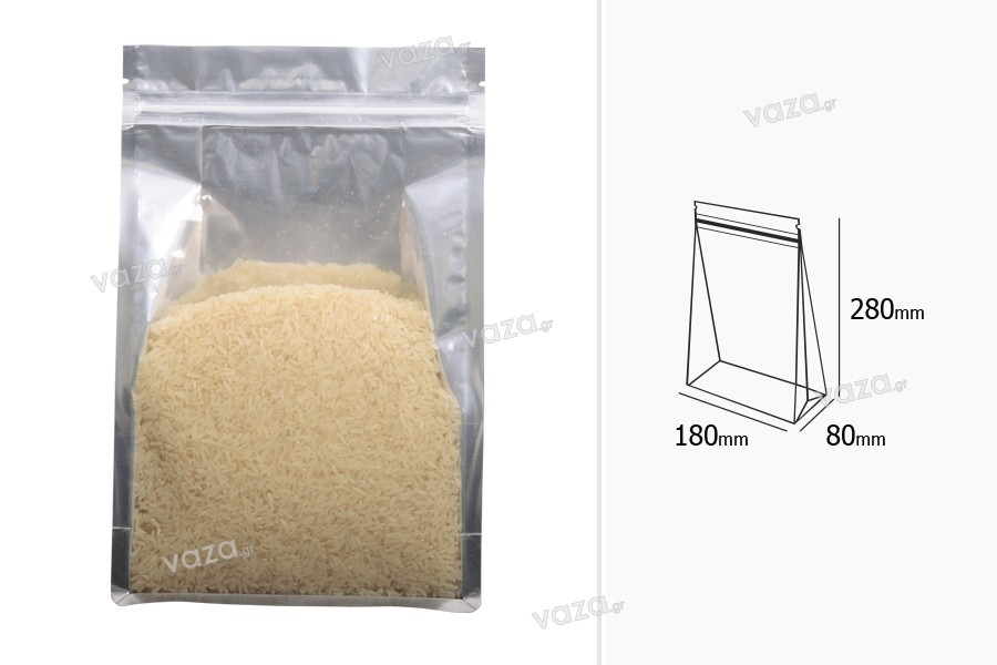 """Σακουλάκια αλουμινίου τύπου Doy Pack, διάφανα με κλείσιμο """"zip"""" και δυνατότητα σφράγισης με θερμοκόλληση 180x80x280 mm - 50 τμχ"""