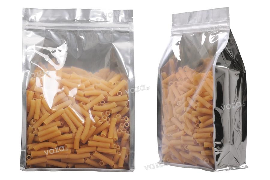"""Σακουλάκια αλουμινίου τύπου Doy Pack, διάφανα με κλείσιμο """"zip"""" και δυνατότητα σφράγισης με θερμοκόλληση 200x80x300 mm - 50 τμχ"""