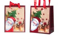 Sac cadeau de Noël avec poignée de ruban en satin rouge  140x70x170 mm - 12 pièces