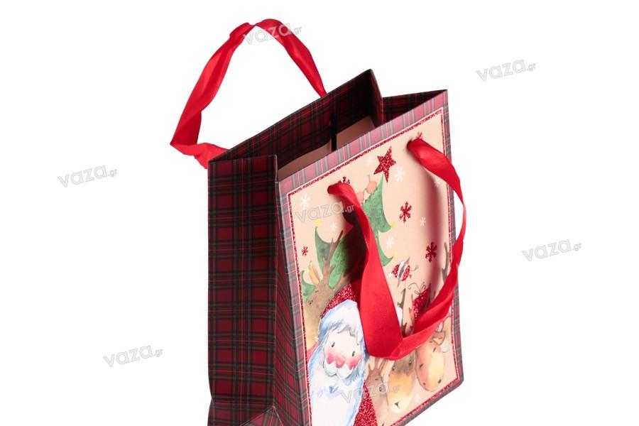 Χριστουγεννιάτικη τσάντα δώρου με κόκκινη σατέν κορδέλα για χερούλι 140x70x170 mm - 12 τμχ