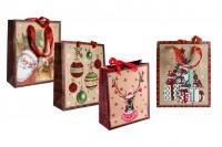 Sac cadeau de Noël avec poignée de ruban en satin rouge  - 195x80x235 mm - 12 pièces