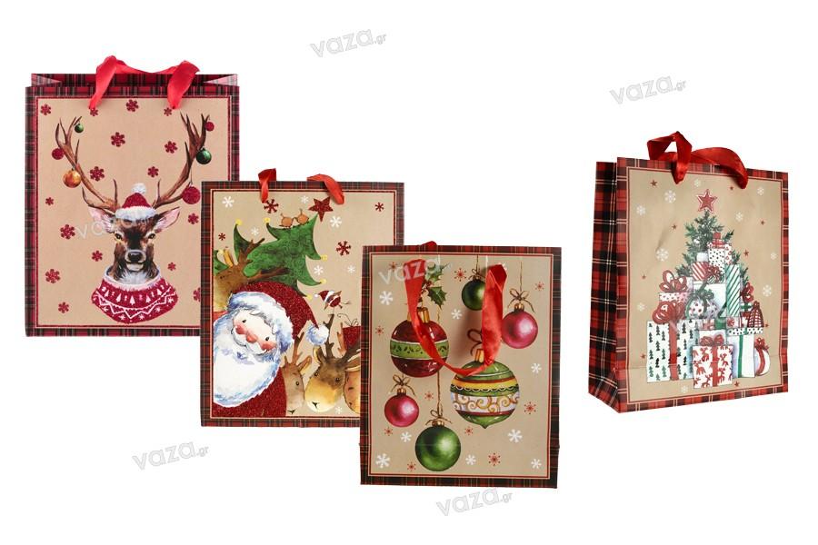 Χριστουγεννιάτικη τσάντα δώρου με κόκκινη σατέν κορδέλα για χερούλι 195x80x235 mm - 12 τμχ