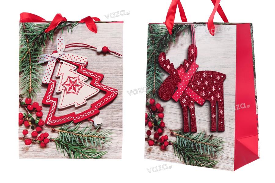 Χριστουγεννιάτικη τσάντα δώρου με χερούλι 180x90x230 mm - 12 τμχ