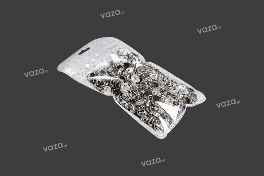 Σακουλάκια με κλείσιμο zip 110x210 mm, non woven πίσω όψη, διάφανο μπροστά και τρύπα eurohole - 50 τμχ