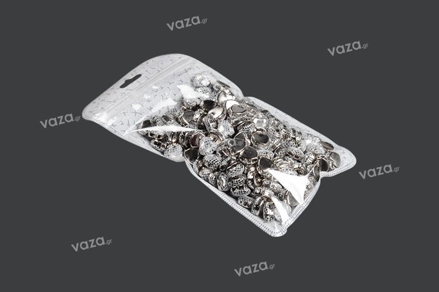 Σακουλάκια με κλείσιμο zip 120x220 mm, non woven πίσω όψη, διάφανο μπροστά και τρύπα eurohole - 50 τμχ